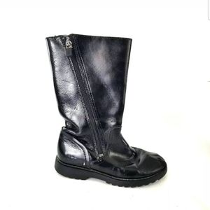 UGGS KIDS GIRLS BLACK SHINY ZIP UP BOOTS